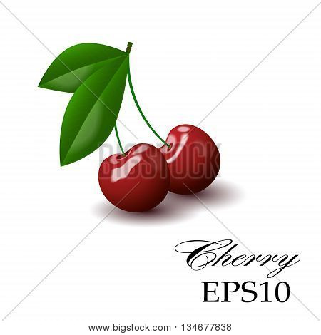 Red cherry on a white background, Realistic image