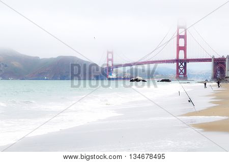 Golden Gate bridge, San Francisco, USA with beach view