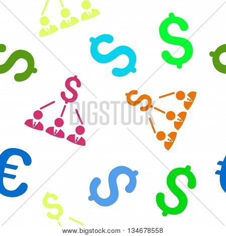 Shareholders vector seamless repeatable pattern. Style is flat shareholders and dollar symbols on a white background.