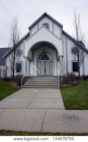 HARBOR SPRINGS, MICHIGAN / UNITED STATES - DECEMBER 24, 2015: Church events take place in the Holy Childhood of Jesus Parish Hall in Harbor Springs.