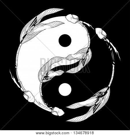 Yin Yang Black And White With Arrow