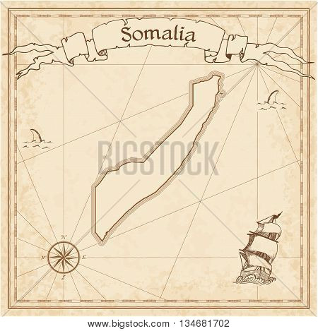 Somalia Old Treasure Map. Sepia Engraved Template Of Pirate Map. Stylized Pirate Map On Vintage Pape