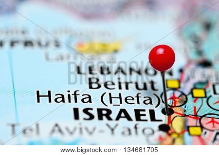 Haifa pinned on a map of Israel