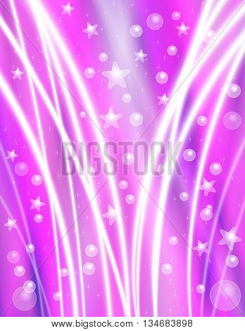 Festive Pink Celebration Background with Stars Bubbles and Light Beams