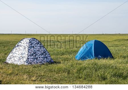 Kargat Novosibirsk oblast Siberia Russia - June 12 2016: small winter tent used in summer in nature