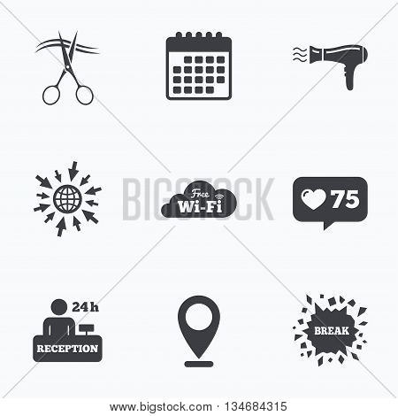 Calendar, like counter and go to web icons. Hotel services icons. Wi-fi, Hairdryer in room signs. Wireless Network. Hairdresser or barbershop symbol. Reception registration table. Location pointer.