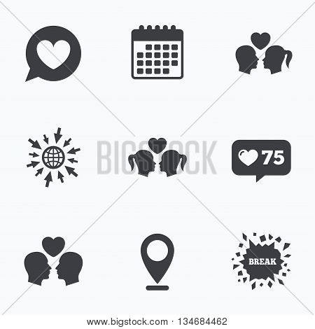 Calendar, like counter and go to web icons. Couple love icon. Lesbian and Gay lovers signs. Romantic homosexual relationships. Speech bubble with heart symbol. Location pointer.