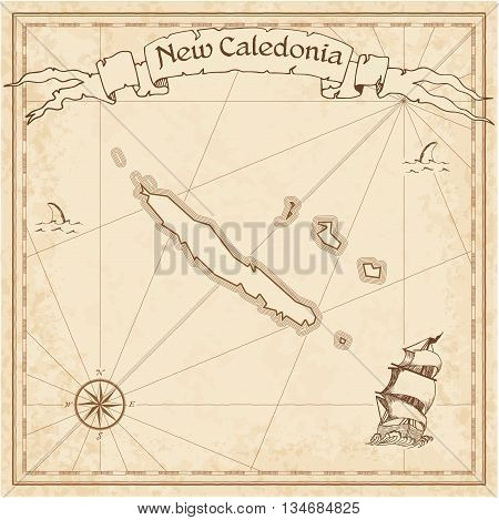 New Caledonia Old Treasure Map. Sepia Engraved Template Of Pirate Map. Stylized Pirate Map On Vintag