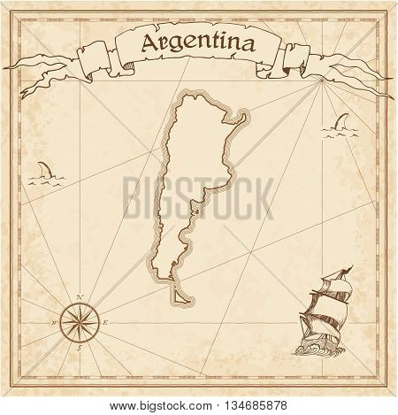 Argentina Old Treasure Map. Sepia Engraved Template Of Pirate Map. Stylized Pirate Map On Vintage Pa