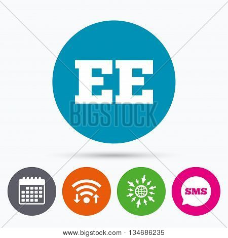 Wifi, Sms and calendar icons. Estonian language sign icon. EE translation symbol. Go to web globe.