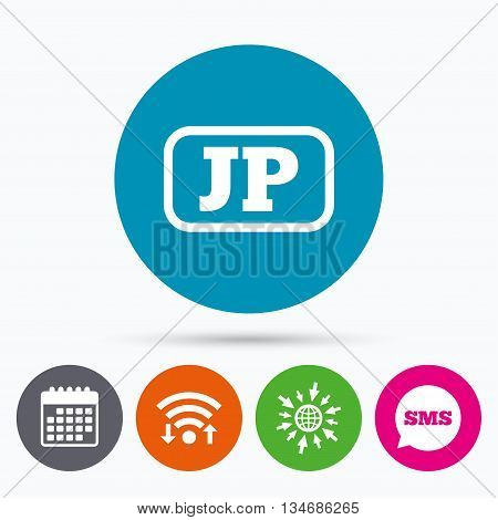 Wifi, Sms and calendar icons. Japanese language sign icon. JP Japan translation symbol with frame. Go to web globe.