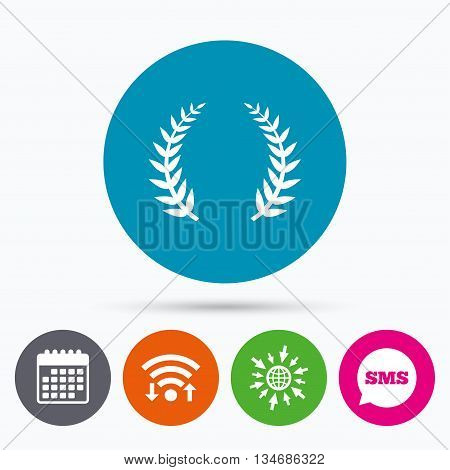Wifi, Sms and calendar icons. Laurel Wreath sign icon. Triumph symbol. Go to web globe.
