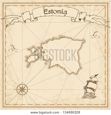 Estonia Old Treasure Map. Sepia Engraved Template Of Pirate Map. Stylized Pirate Map On Vintage Pape