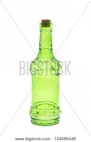 green glass bottles isolated on white