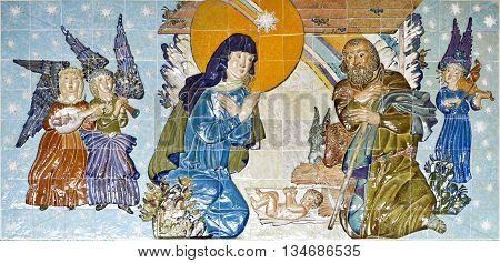 BRAGA, PORTUGAL - September 22, 2015: Tiles panel depicting the Nativity scene in the crypt of the Sanctuary of Sameiro on September 22, 2015 in Braga, Portugal