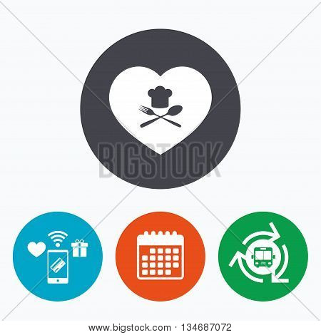 Chef hat sign icon. Love Cooking symbol. Cooks hat with fork and spoon. Mobile payments, calendar and wifi icons. Bus shuttle.