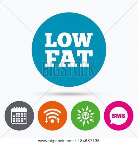 Wifi, Sms and calendar icons. Low fat sign icon. Salt, sugar food symbol. Go to web globe.