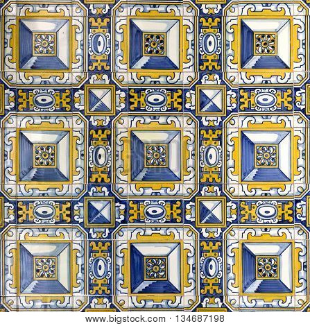 Traditional colored decorative tiles covering the inside walls of the Sanctuary of Sameiro in Braga Portugal