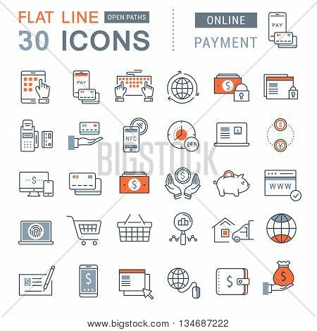Set vector line icons in flat design online banking payment and online shopping with elements for mobile concepts and web apps. Collection modern infographic logo and pictogram.