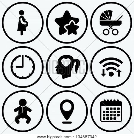 Clock, wifi and stars icons. Maternity icons. Baby infant, pregnancy and buggy signs. Baby carriage pram stroller symbols. Head with heart. Calendar symbol.