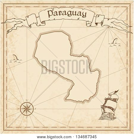 Paraguay Old Treasure Map. Sepia Engraved Template Of Pirate Map. Stylized Pirate Map On Vintage Pap