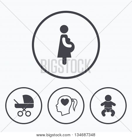 Maternity icons. Baby infant, pregnancy and buggy signs. Baby carriage pram stroller symbols. Head with heart. Icons in circles.