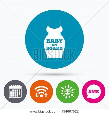 Wifi, Sms and calendar icons. Pregnant woman dress sign icon. Baby on board. Maternity clothing symbol Go to web globe.