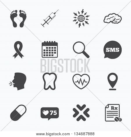 Calendar, go to web and like counter. Medicine, medical health and diagnosis icons. Syringe injection, heartbeat and pills signs. Tooth, neurology symbols. Sms speech bubble, talk symbols.