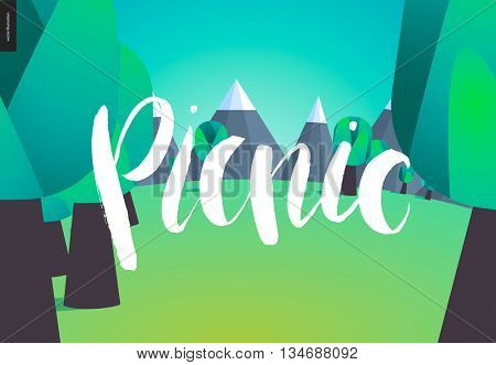 A vector cartoon white brush hand written lettering Picnic, field, forest and mountains