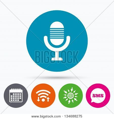 Wifi, Sms and calendar icons. Microphone icon. Speaker symbol. Live music sign. Go to web globe.