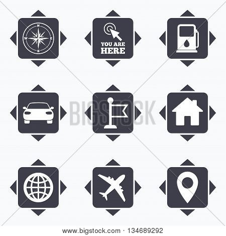 Icons with direction arrows. Navigation, gps icons. Windrose, compass and map pointer signs. Car, airplane and flag symbols. Square buttons.