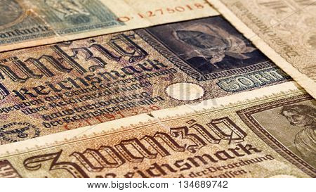 Third reich nazi banknotes 1942 WW2 in occupied Ukraine, vintage background