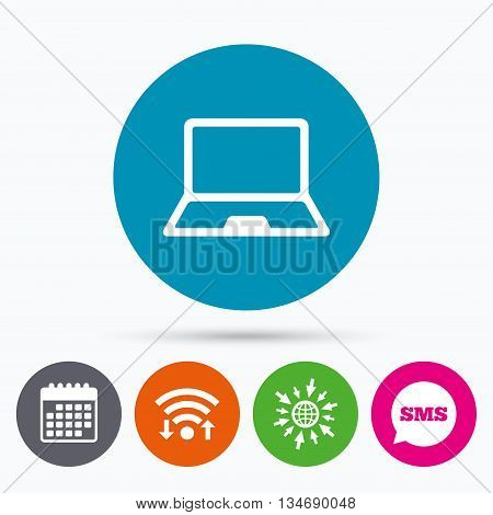 Wifi, Sms and calendar icons. Laptop sign icon. Notebook pc symbol. Go to web globe.