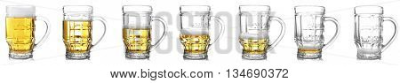 Steps of discharge mug of beer. Drinking beer process, isolated on white