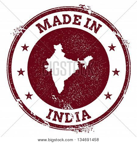 India Vector Seal. Vintage Country Map Stamp. Grunge Rubber Stamp With Made In India Text And Map, V