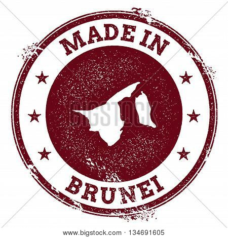 Brunei Darussalam Vector Seal. Vintage Country Map Stamp. Grunge Rubber Stamp With Made In Brunei Da
