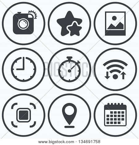 Clock, wifi and stars icons. Hipster retro photo camera icon. Autofocus zone symbol. Stopwatch timer sign. Landscape photo frame. Calendar symbol.
