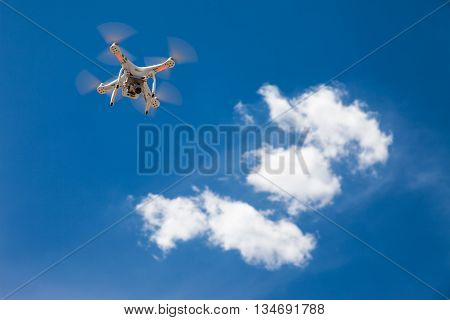 Flying a drone on a sunny day and blue sky
