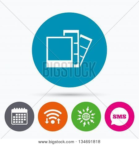 Wifi, Sms and calendar icons. Photo frame template sign icon. Photo booth strips symbol. Go to web globe.