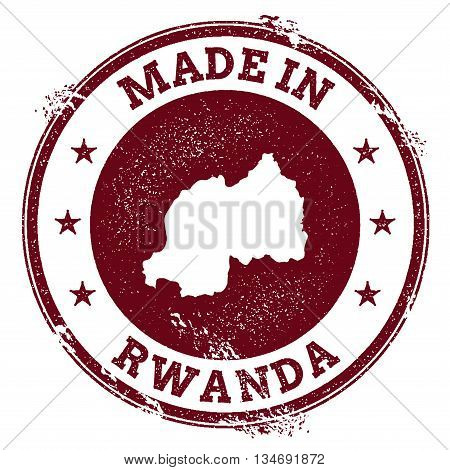 Rwanda Vector Seal. Vintage Country Map Stamp. Grunge Rubber Stamp With Made In Rwanda Text And Map,