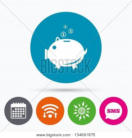Wifi, Sms and calendar icons. Piggy bank sign icon. Moneybox symbol. Go to web globe.
