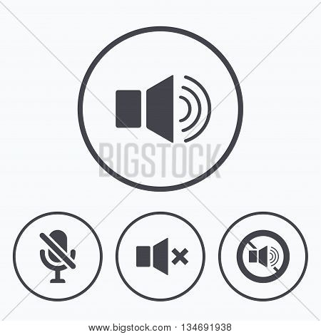 Player control icons. Sound, microphone and mute speaker signs. No sound symbol. Icons in circles.