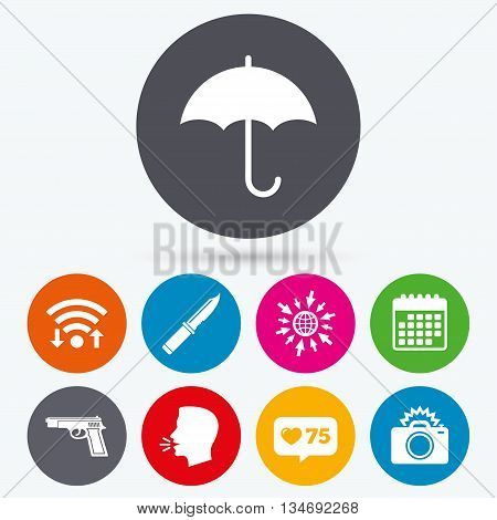 Wifi, like counter and calendar icons. Gun weapon icon.Knife, umbrella and photo camera with flash signs. Edged hunting equipment. Prohibition objects. Human talk, go to web.