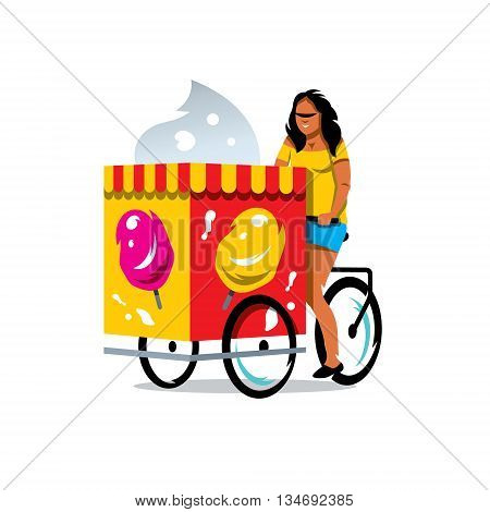 Girl seller of ice cream on a bike. Isolated on a white background