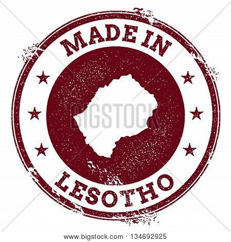 Lesotho Vector Seal. Vintage Country Map Stamp. Grunge Rubber Stamp With Made In Lesotho Text And Ma