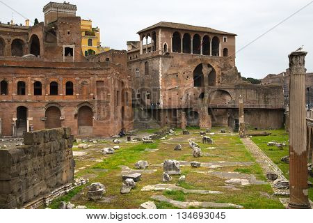 ROME, ITALY - APRIL 8, 2016: Emperor Trajan Forum 106 - 112 AD AD, measuring 300 metres (980 feet) long and 185 metres (607 feet) wide