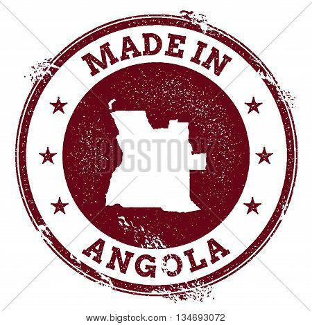 Angola Vector Seal. Vintage Country Map Stamp. Grunge Rubber Stamp With Made In Angola Text And Map,