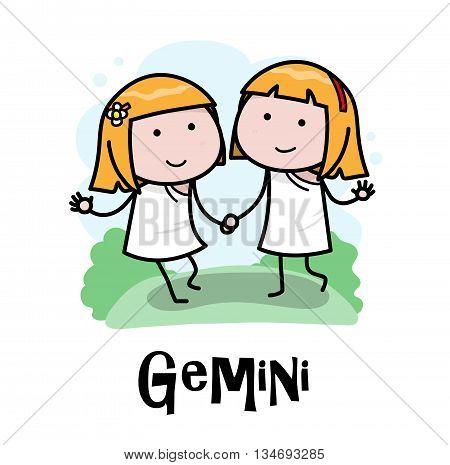 Gemini Zodiac, a hand drawn vector cartoon illustration of Gemini zodiac, The Twins.