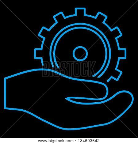 Development Service glyph icon. Style is outline flat icon symbol, blue color, black background.