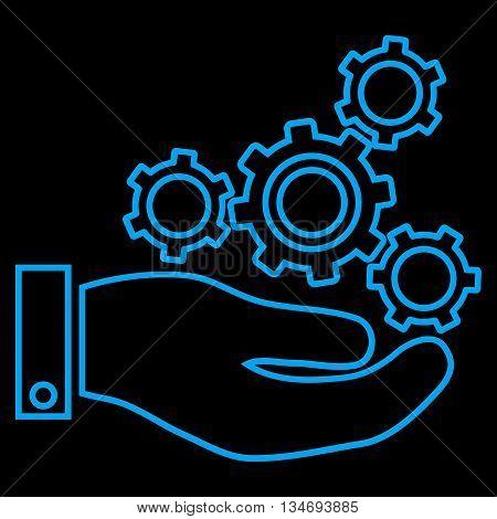 Mechanics Service glyph icon. Style is stroke flat icon symbol, blue color, black background.